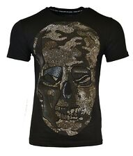 "PHILIPP PLEIN ""BLA BLA"" T-SHIRT BLACK CAMO SKULL EMBOSSED LEATHER RARE"
