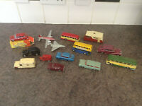 joblot vintage toy cars / planes / buses mostly dinky + corgi  spot on meccano