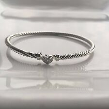 David Yurman $475 Cable Collectibles Heart Bracelet Diamonds,B09678 SSADI Medium