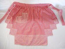 Vintage Waist Apron Red & White Checked w Cross Stitches-Rick Rack Edge-Pocket
