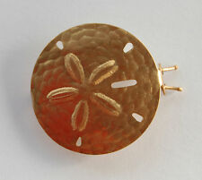 VINTAGE DEAD STOCK GOLD METAL SAND DOLLAR BARRETTE BRASS • 1.5 inches