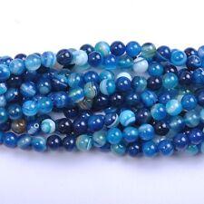 10Pcs Natural Blue Stripe Agate Gemstone Round Spacer Loose Beads 10MM #10