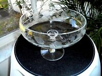 Large Clear Crystal Etched Bowl Champagne Glass Design