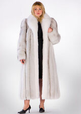 Plus Size Natural Blue Fox Fur Coat with Natural White Fox Collar 52""