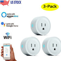 3Pcs Wifi Smart Plug Voice Remote Control Socket Outlet Google Alexa Assistant