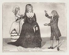 JOHN KAY Antique Theatre Etching. Mrs Siddons, Mr Sutherland, Mrs Woods.., 1784