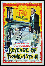 REVENGE OF FRANKENSTEIN Rare One sheet Movie Poster PETER CUSHING Hammer Horror