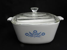 Vintage Corning Cornflower 1 ¾ Qt. Square Covered Casserole with Lid, P-1 ¾-B
