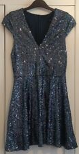 BNWT Topshop Petite Blue Sequin Skater Dress 8