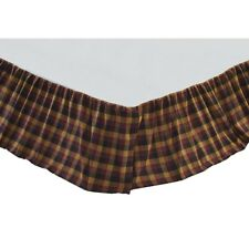 Primitive Check Queen Bed Skirt Burgundy/Black/Mustard Farmhouse Rustic Country