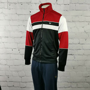 Men's True Religion Track Jacket in Black Red Classic Fit Tracksuit Top Full Zip