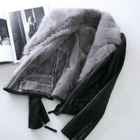 Women Real Fur Short Slim Coat Winter Fleece Leather Jacket Motorcycle Zip Chic
