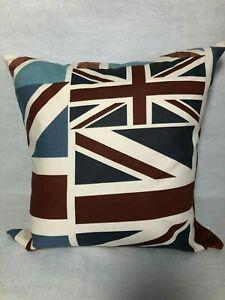 """Shabby Chic Abstract Union Jack 16"""" x 16"""" Cushion Cover in Muted Reds and Blues"""