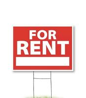 """Yard Sign For Rent 18"""" x 24"""" Coroplast 4 mm corrugated, double side, H stake"""