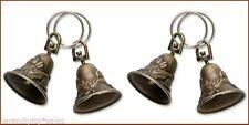 "12 BRASS BELLS ~ Antique Finish~Bird+ Rabbit Design 1.25""  High with Split Ring"