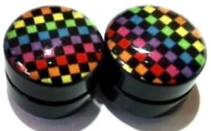 FAKE NO PIERCING - Pair Of 8mm Rainbow Checkered Magnetic Plug Tunnel Earring