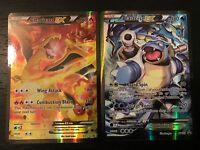 POKEMON: CHARIZARD EX + BLASTOISE EX -  FULL ART HOLO PROMO CARD SET XY121 - NM