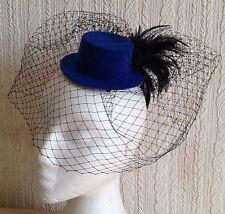 black veiling feather blue mini top hat fascinator millinery wedding ascot