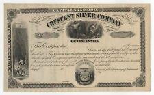 1880's Crescent Silver Mining Company of Cincinnati Stock Certificate
