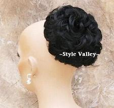 Black BUN Hairpiece Extension Short Curly Wedding updo Chignon  hair piece