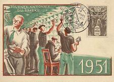 CP MAXIMUM JOURNEE NATIONALE DU TIMBRE TUNIS 1951