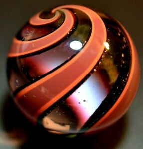 """HOT HOUSE GLASS MARBLE/1.301""""-BRICK DICHROIC BANDED SWIRL #468-1 1/2 MARBLE/FAST"""