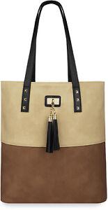 Stilvolle Damentasche Shopper Bag City Tasche Einkaufen Fransen Beige Braun