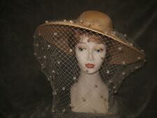 Frank Olive for Neiman Marcus eggshell fine straw derby hat with veiling