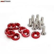 8 x Red Epman Engine Bay Fender M6 Bolts & Washers JDM Alloy Anodised