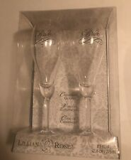 """Lillian And Rose 2 Brides Champagne Glasses Lesbian Wedding Toast 8.5"""" G705"""