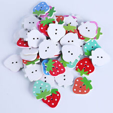 Wooden Strawberry Pattern Buttons Sewing Scrapbooking Crafts D