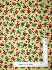 """Christmas Holly Berry Red Bow Toss Cotton Fabric VIP Cream Background - 35"""""""