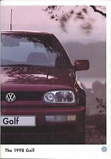 Volkswagen Golf Mk3 UK Brochure 1997 1998 inc GL GTI Colour Concept & 16V VR6