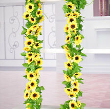 2.6M Artificial Sunflower Garland Fake Flowers Ivy Silk Leaf Plants Home Decor