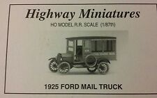 Ho scale Highway Miniatures 1925 Ford Mail Truck Item # 215