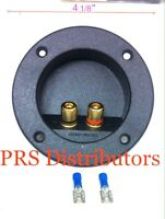 """ROUND SPEAKER SUBWOOFER BOX TERMINAL 4 1/8"""" Diameter and 2 SPADE WIRE CONNECTORS"""