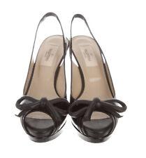 VALENTINO Garavani Sling Back Black Bow Patent Leather Heels, sz 38