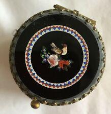 "Antique Gilded Bronze Ring Jewelry Box Pietra Dura Micromosaics Bird 19thC 2""Rnd"