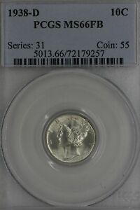 1938-D .10 PCGS MS 66 FB Mercury, Winged, Liberty Head Dime, Liberty 10 Cents