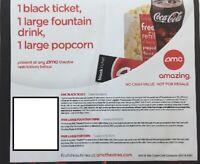 AMC Movie Theater - 1 Black Ticket, 1 Large Popcorn, 1 Large Drink