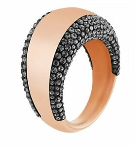 NIB $149 SWAROVSKI PEBBLE RING ROSE GOLD WITH BLACK CRYSTALS Size 55 58 60