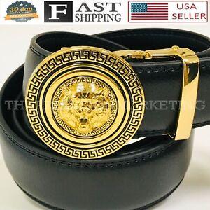 Fashion Leather Gold Lion Head Red Sliding New Designer Auto Buckle Belt Men's