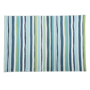 Summer Stripe Indoor Outdoor Placemats Set Of 4 New with Tags Blue Wipe Clean