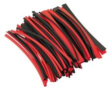 100pc Sealey 200mm Heat Shrink Tubing Tube Sleeving Red Black 3.2mm-127mm Pack