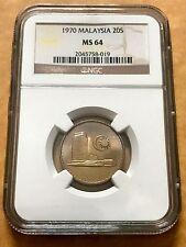 (B) Malaysia 20 Sen 1970 Parliament coins Key Date NGC MS64