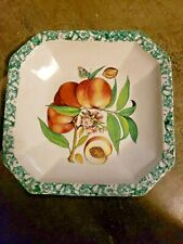 Vintage HiMark square Serving Basin bowl made in Italy peaches butterfly EUC