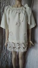 Twin Set Simona Barbieri amazing linen mix flower embroidered dress tunic size S