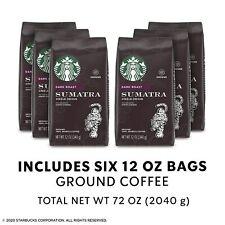 Starbucks Sumatra Dark Roast Ground Coffee, 12oz Bags, Case of 6 bags, NOV/2021