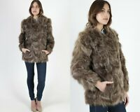 Vtg 70s Raccoon Fur Coat Plush Collar Brown Scallop Puff Sleeve Shaggy Jacket