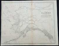 1886 US Govt. Large Scarce Antique Map of Alaska from Russian British US Sources